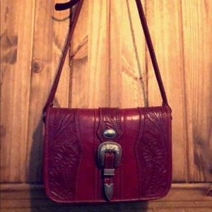 Vintage Red Leather Tooled American West Purse